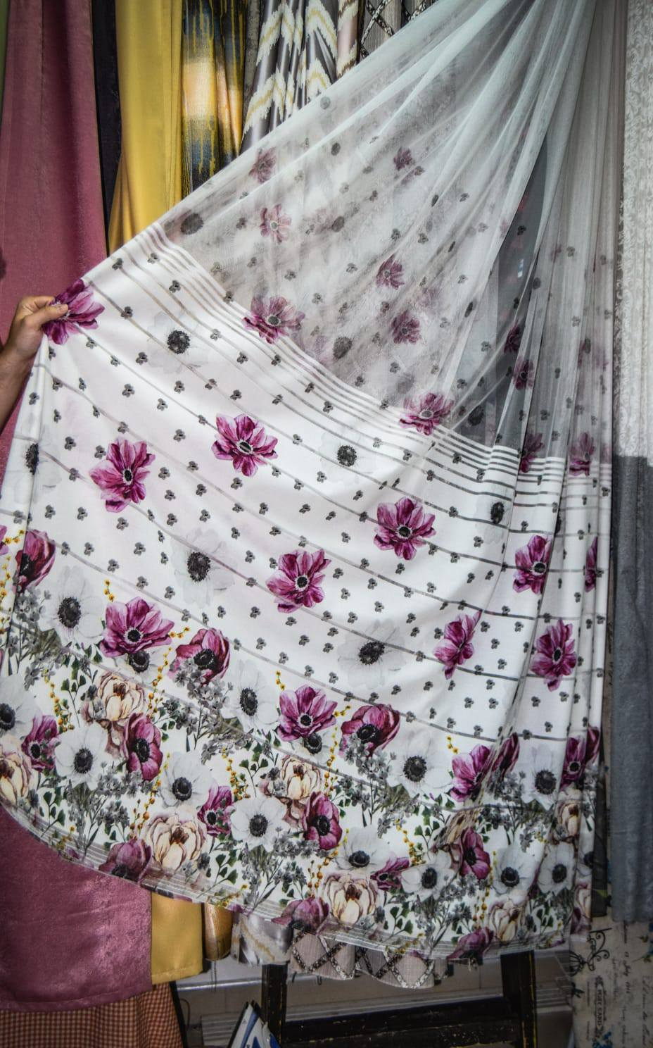 Zavese pruge roze cvetovi